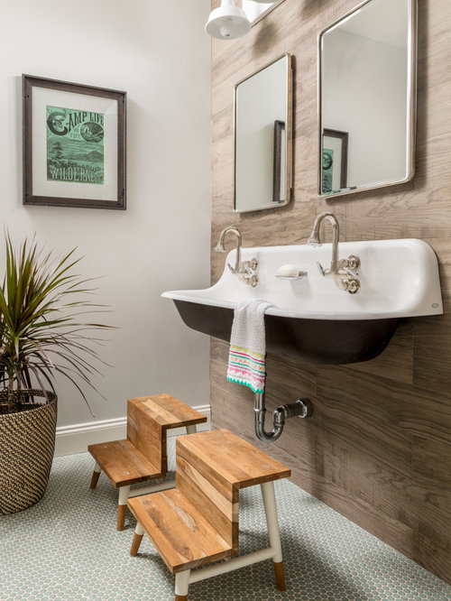 small eclectic kids tubshower combo photo in boston with a drop in tub