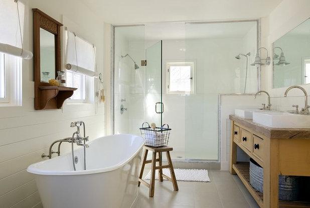 Elegant Beach Style Bathroom by ZeroEnergy Design