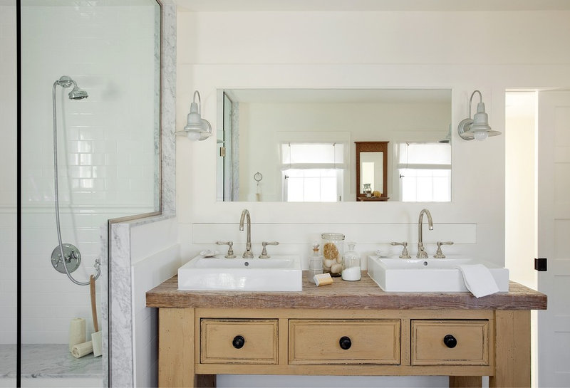 transitional bathroom by ZeroEnergy Design