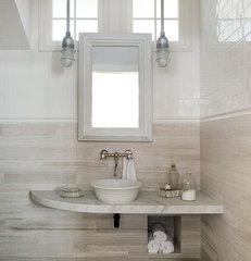 modern powder room by ZeroEnergy Design