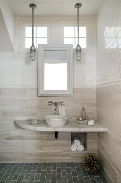 transitional powder room by ZeroEnergy Design