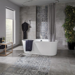 Bathroom - large contemporary master gray tile and porcelain tile porcelain floor bathroom idea in Perth with gray walls