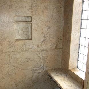 Ispirazione per un'ampia stanza da bagno padronale stile rurale con vasca sottopiano, doccia alcova, lavabo integrato, top in cemento, doccia aperta e top multicolore