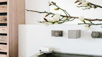 Concrete spout, basin and taps