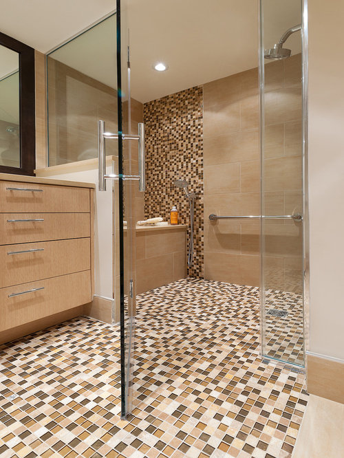 Wheelchair shower houzz for Bathroom decor earth tones