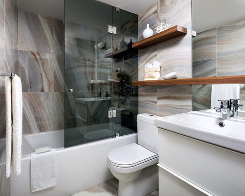 Example Of A Mid Sized Trendy Multicolored Tile Bathroom Design In Toronto  With An Integrated