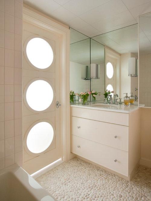 Modern Pebble Tile Pebble Tile Floor Bathroom Idea In Boston With An  Undermount Sink, Flat