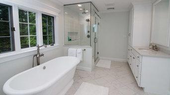 Contemporary & Transitional Sea Salt Classic bath remodel w/ classic marble tile