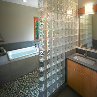 Contemporary Bath with Asian Influence