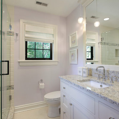 Example of a trendy white tile and subway tile bathroom design in Other with an undermount sink, recessed-panel cabinets and white cabinets