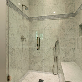 Inspiration for a contemporary white tile alcove shower remodel in Other