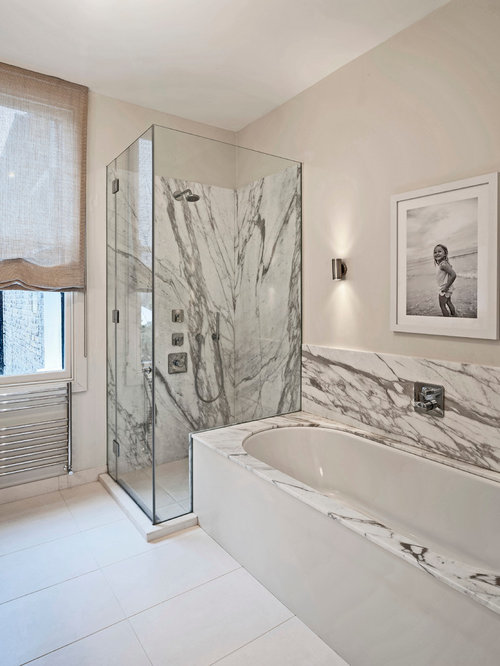 Contemporary Bathroom In London With A Submerged Bath, An Alcove Shower,  White Walls And Part 68