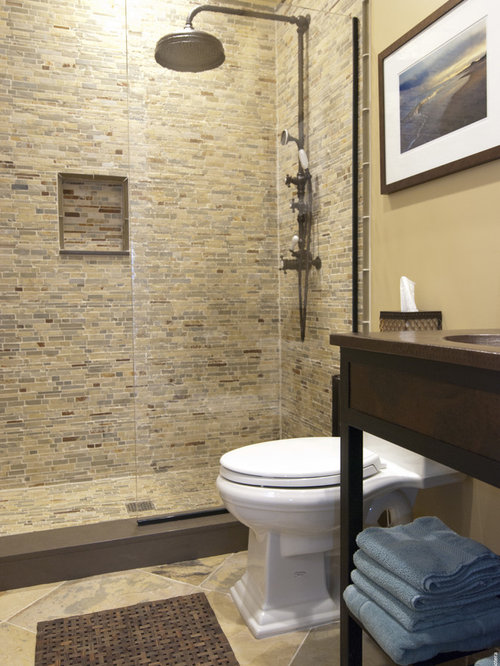 Houzz matching floor and wall tile design ideas for Brown tile bathroom ideas