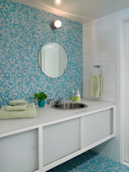 Superior Trendy Bathroom Photo In New York With An Undermount Sink And Blue Floors Pictures Gallery
