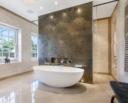 photo of a modern bathroom in london with a freestanding bath and beige walls