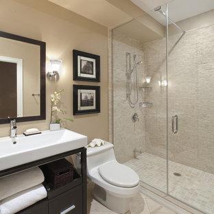 トロントのコンテンポラリースタイルのおしゃれな浴室 (ベッセル式洗面器) の写真