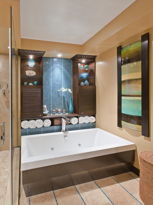 Contemporary Bathroom Idea In Toronto With Mosaic Tile