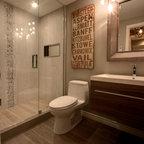 Wood Tile Bathroom Traditional Bathroom Philadelphia By On A Budget Decorating