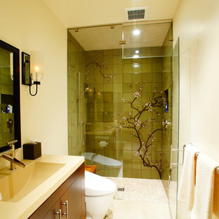 Contemporary bathroom in San Francisco with an integrated sink, flat-panel cabinets, medium wood cabinets, an alcove shower, a one-piece toilet and green tile.