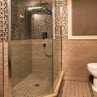 Three Quarter Bath Inspiration For A Contemporary Beige Tile And Mosaic Corner Shower Remodel In New York With