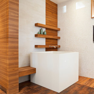 Photo of a contemporary bathroom in San Francisco with a japanese tub, white tile and mosaic tile.