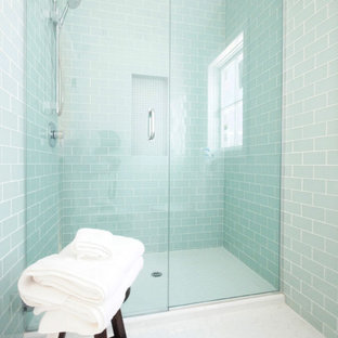 Alcove shower - mid-sized contemporary 3/4 glass tile and blue tile ceramic floor and white floor alcove shower idea in Austin with blue walls