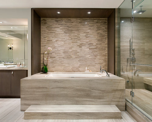 Superb Contemporary Beige Tile Bathroom Idea In Miami With A Drop In Sink, Flat