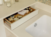 Is this drawer built into the frame around a tub?