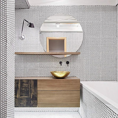 Inspiration for a mid-sized contemporary master black and white tile and mosaic tile mosaic tile floor and white floor bathroom remodel with flat-panel cabinets, light wood cabinets, a one-piece toilet, white walls, a vessel sink, wood countertops and brown countertops