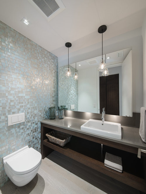 Inspiration For A Contemporary Bathroom Remodel In Ottawa With Wall Mount Toilet