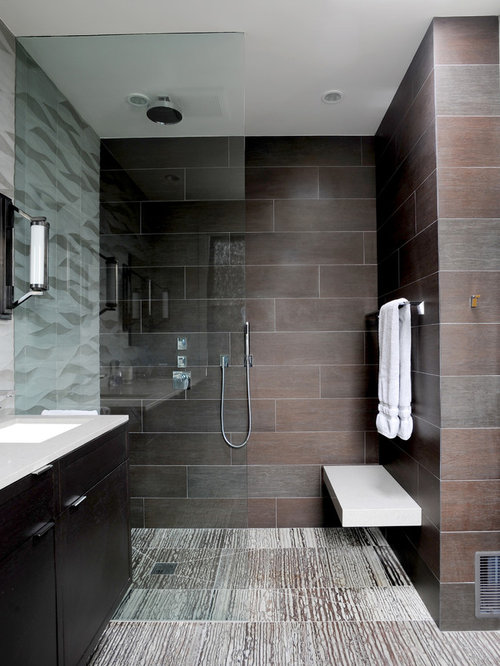 inspiration for a contemporary walk in shower remodel in san francisco with brown walls