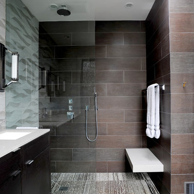 Inspiration for a contemporary walk-in shower remodel in San Francisco with brown walls