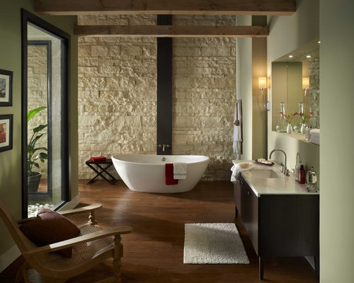 Example Of A Trendy Bathroom Design In San Diego With A Freestanding Tub  And Green Walls