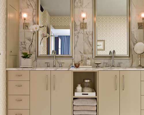 Inspiration For A Contemporary Bathroom Remodel In Boston With Marble  Countertops