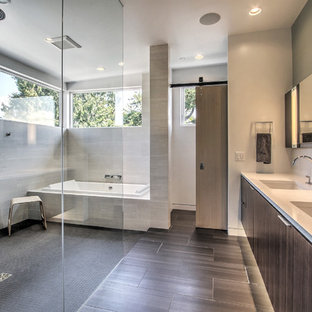 Bathroom   Contemporary Master Porcelain Tile And Gray Tile Travertine  Floor Bathroom Idea In Seattle With