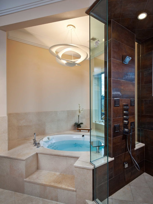 trendy beige tile corner shower photo in other - Bathroom Designs With Jacuzzi Tub