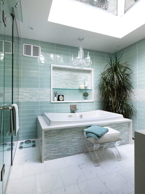Mid Sized Contemporary Master Corner Shower Idea In Chicago With A  Freestanding Tub, Blue