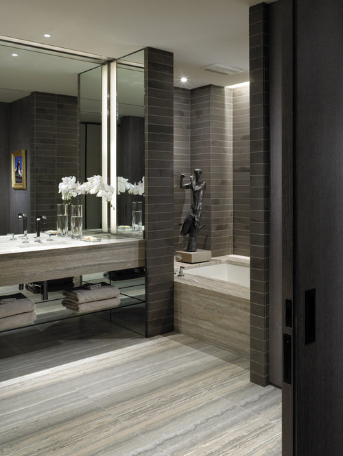 Gray And Beige Bathroom Home Design Ideas, Pictures ...