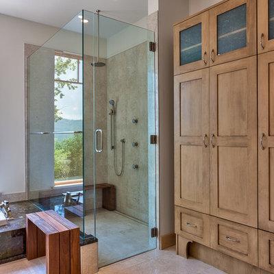 Corner bathtub - contemporary corner bathtub idea in Other
