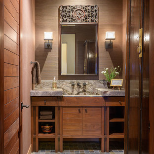 Example Of A Trendy Multicolored Floor Bathroom Design In Seattle With An  Integrated Sink, Medium