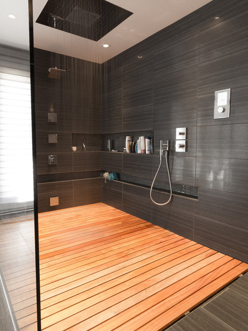 Mid-sized trendy master bathroom photo in Ottawa with gray tile - Wood Shower Floor Houzz