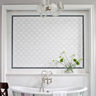 Inspiration for a contemporary freestanding bathtub remodel in Chicago