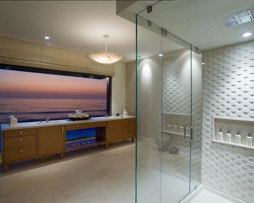 Bathroom   Contemporary Bathroom Idea In Orange County With Medium Tone  Wood Cabinets