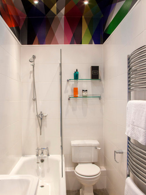 bathroom shower designs small spaces. Contemporary white tile bathroom idea in Other with a two piece toilet Small Bathroom Shower Designs  Houzz