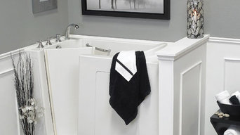 Black + White Bathroom with  Walk-in Tub