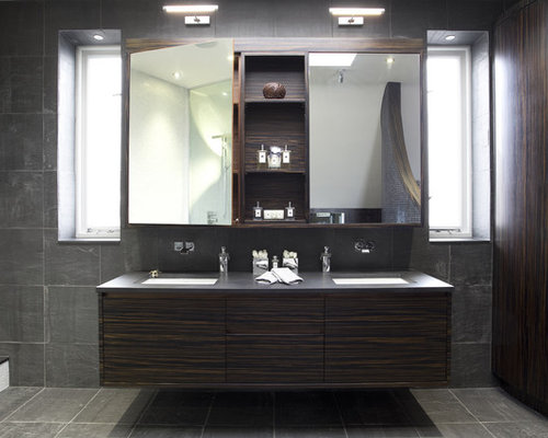 Inspiration For A Contemporary Mosaic Tile Freestanding Bathtub Remodel In London