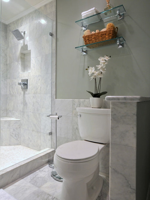bathroom design in atlanta with a two piece toilet and white tile
