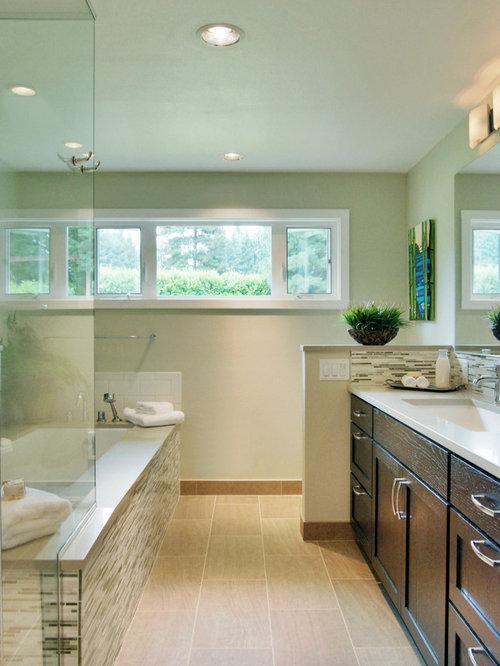 Rectangular floor tile houzz for Rectangular bathroom designs
