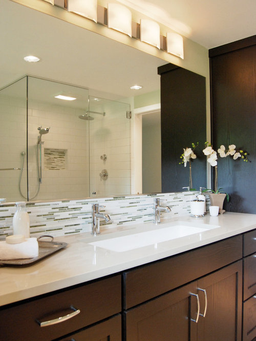 Example Of A Trendy Bathroom Design In Other With A Trough Sink