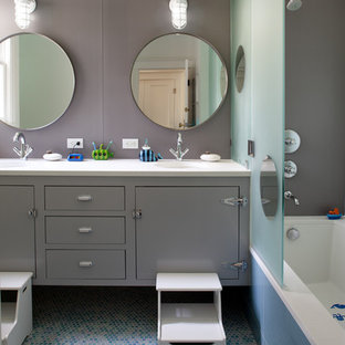 Inspiration for a contemporary kids' mosaic tile and multicolored tile mosaic tile floor bathroom remodel in San Francisco with gray cabinets, flat-panel cabinets and gray walls